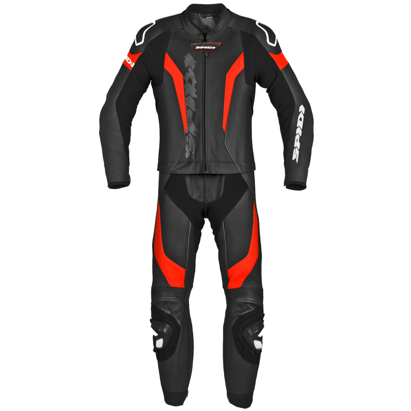 SPIDI LASER TOURING LEATHER 2PC BLACK/FLUO RED
