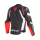 DAINESE AVRO 4 LEATHER JACKET BLACK/WHITE/RED FLUO