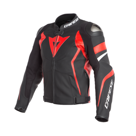 DAINESE AVRO 4 LEATHER JACKET BLACK/LAVA RED/WHITE
